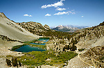 California: near Mammoth Lakes, Barney Lake in J. Muir Wilderness, Photo: camamm102.Photo copyright Lee Foster, 510/549-2202, lee@fostertravel.com, www.fostertravel.com