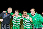 Killarney Celtic David Hayes, Cathal O'Shea, Padraig O'Connor and Eoghan Donnellan celebrate after their victory over Jamestown in the FAI cup on Saturday.