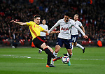 Craig Cathcart of Watford and Son Heung-Min of Tottenham during the premier league match at Wembley Stadium, London. Picture date 30th April 2018. Picture credit should read: David Klein/Sportimage
