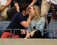 FLUSHING NY- SEPTEMBER 09: Jason Biggs and Jenny Mollen seen watching Novak Djokovic Vs Gael Monfils during the mens semi finals on Arthur Ashe Stadium at the USTA Billie Jean King National Tennis Center on September 9, 2016 in Flushing Queens. Credit: mpi04/MediaPunch