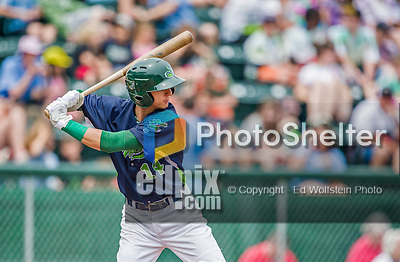 9 July 2015: Vermont Lake Monsters outfielder Steven Pallares in action against the Mahoning Valley Scrappers at Centennial Field in Burlington, Vermont. The Lake Monsters rallied to tie the game 4-4 in the bottom of the 9th, but fell to the Scrappers 8-4 in 12 innings of NY Penn League play. Mandatory Credit: Ed Wolfstein Photo *** RAW Image File Available ****