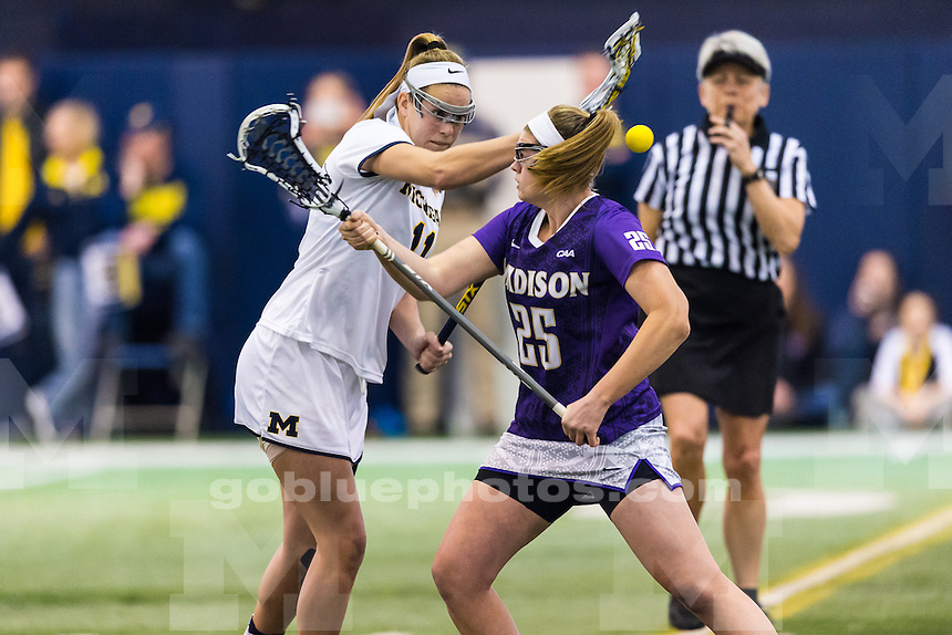 The University of Michigan women lacrosse team,18-6 loss to James Madison at Oosterbaan Arena in Ann Arbor, MI on February 11, 2017