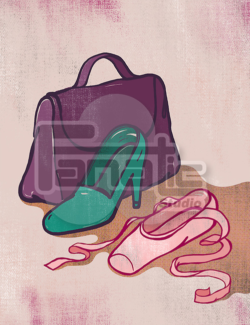 Illustration of high heel and ballet shoe representing alternative career