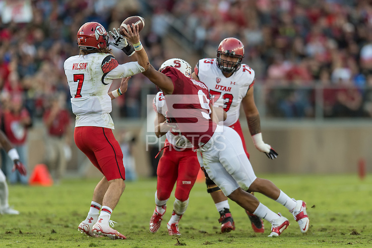 STANFORD, CA - November 15, 2014: The Stanford Cardinal vs Utah Utes game at Stanford Stadium in Stanford, California. Final score, Stanford Cardinal 17, Utah 20 (2OT)