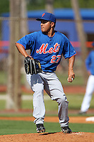 New York Mets pitcher Angel Cuan #27 during a minor league spring training intrasquad game at the Port St. Lucie Training Complex on March 27, 2012 in Port St. Lucie, Florida.  (Mike Janes/Four Seam Images)
