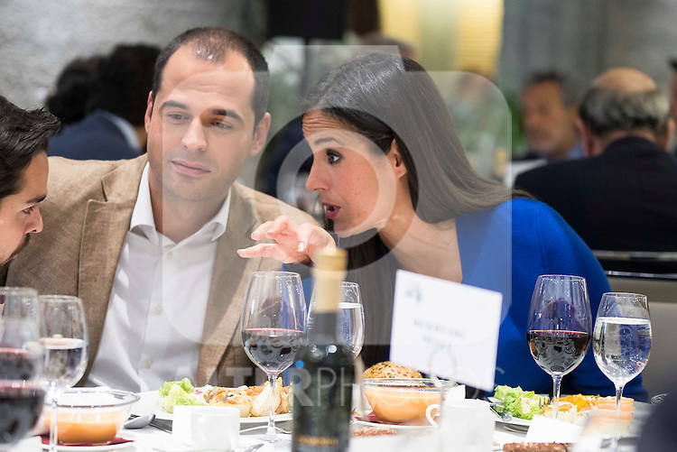 Politic Begoña Villacis taling with politic Ignacio Aguado during a lunch - colloquium of the Club Siglo XXI at Hotel Eurobuilding in Madrid. May 30. 2016. (ALTERPHOTOS/Borja B.Hojas)