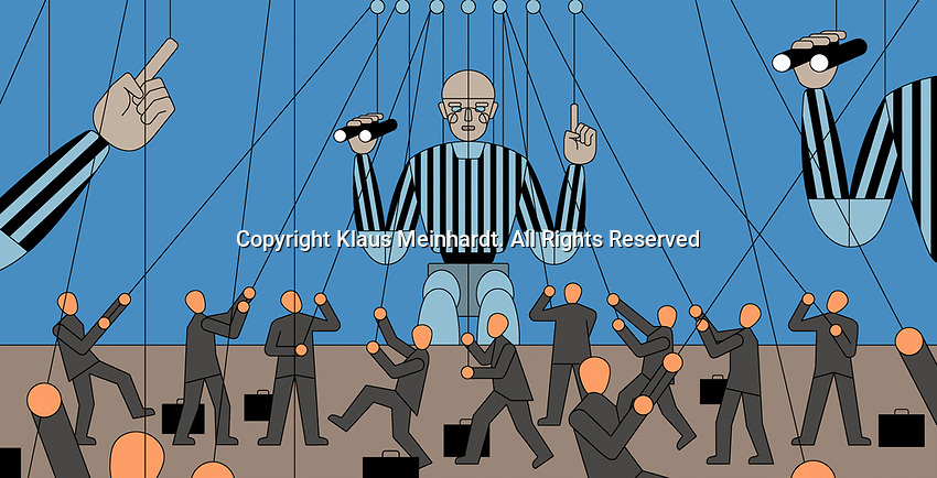 Lots of small businessmen controlling large referee puppets