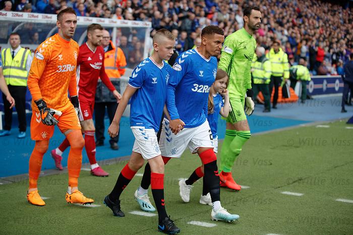 28.09.2018 Rangers v Aberdeen: James Tavernier leads out the Rangers team