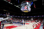 Wisconsin Badgers and the Duke Blue Devils line up during the National Anthem prior to an NCAA college women's basketball game against the Duke Blue Devils during the ACC/Big Ten Challenge at the Kohl Center in Madison, Wisconsin on December 2, 2010. Duke won 59-51. (Photo by David Stluka)