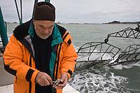 Europe/France/Bretagne/29/Finistère/Riec-sur-Belon: Huitres Cadoret - Jacques Cadoret, ostréiculteur, ouvre une huître sur un chaland ostréicole