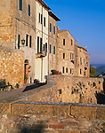 Tuscany, Italy:  Evening sun on Pienza's Via della Casello set on the hilltown's Renaissance stone walls