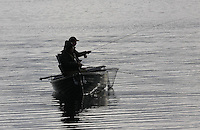 General view of fly fishermen on Lake of Menteith.