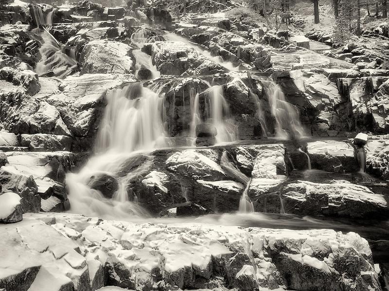 Glen Alpine Falls minutes after fresh snwfall. Lake Tahoe, California