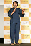 Japanese calligraphy (Kanji) artist Soun Takeda speaks during a stage greeting for the film The Zookeeper's Wife on November 27, 2017, Tokyo, Japan. Chastain greeted fans during the promotional event for the movie which will be released in Japan on December 15. (Photo by Rodrigo Reyes Marin/AFLO)