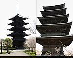 Gojunoto 5-story Pagoda, Japan's Tallest Pagoda, Composite Image, Toji East Temple, Kyoto, Japan