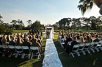 Winter Garden, Orlando, Fl. 10/3/2009- Wedding ceremony of Danielle Sanford Thomas and Adam Charles Hausmann October 3, 2009 at the West Orange Country Club in Winter Garden, Fl..Officiant Rabbi Richard Birnholz.Maid of Honor Jennifer Hutton.Best man Charlie Weinberg..Photo: Michael Spooneybarger