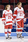 Jenn Arms (BU - 25), Tara Watchorn (BU - 27) - The Boston University Terriers defeated the Providence College Friars 5-3 on Saturday, November 14, 2009, at Agganis Arena in Boston, Massachusetts.