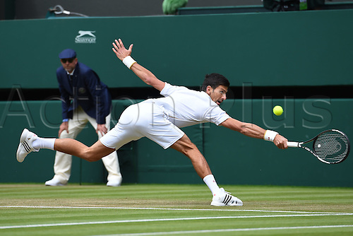 02.07.2016. All England Lawn Tennis and Croquet Club, London, England. The Wimbledon Tennis Championships Day Six.  Novak Djokovic (Ser) returns to Sam Querrey (USA)