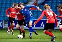 29 APR 2009 - LONDON,GBR - Mikel Suarez - Loughborough University (blue) v UWE Hartpury (red and black) - BUCS Mens Football Championships '09. (PHOTO (C) NIGEL FARROW)