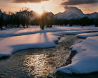 Sunset light on the Snake River and the Teton Range; Grand Teton National Park, WY