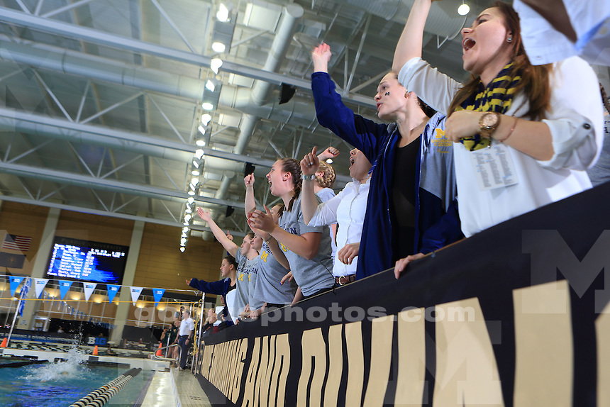 The University of Michigan women's swimming and diving team compete at the 2017 Women's Big Ten Championships at Purdue University. February 17, 2017.