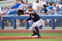 San Antonio Missions first baseman Fernando Perez (22) waits to receive a throw during a game against the Tulsa Drillers on June 1, 2017 at ONEOK Field in Tulsa, Oklahoma.  Tulsa defeated San Antonio 5-4 in eleven innings.  (Mike Janes/Four Seam Images)
