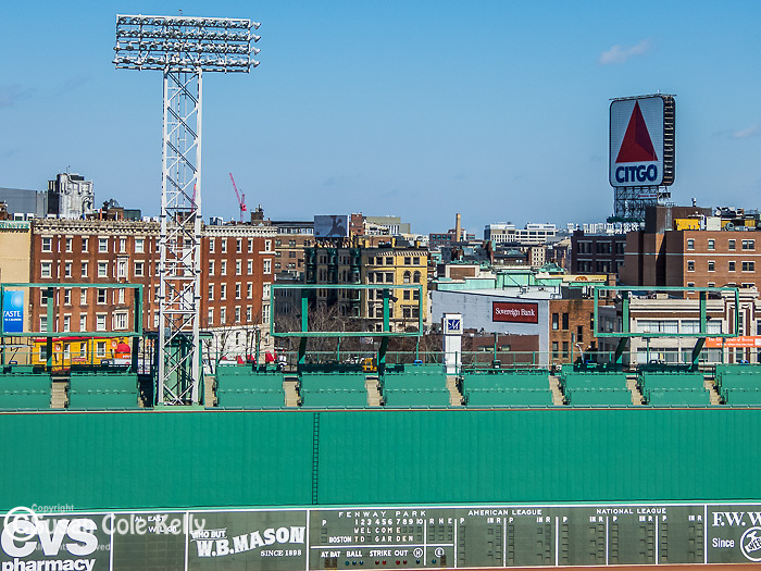 The Green Monster (wall) at Fenway Park, home of the Boston Red Sox, Boston, Massachusetts, USA