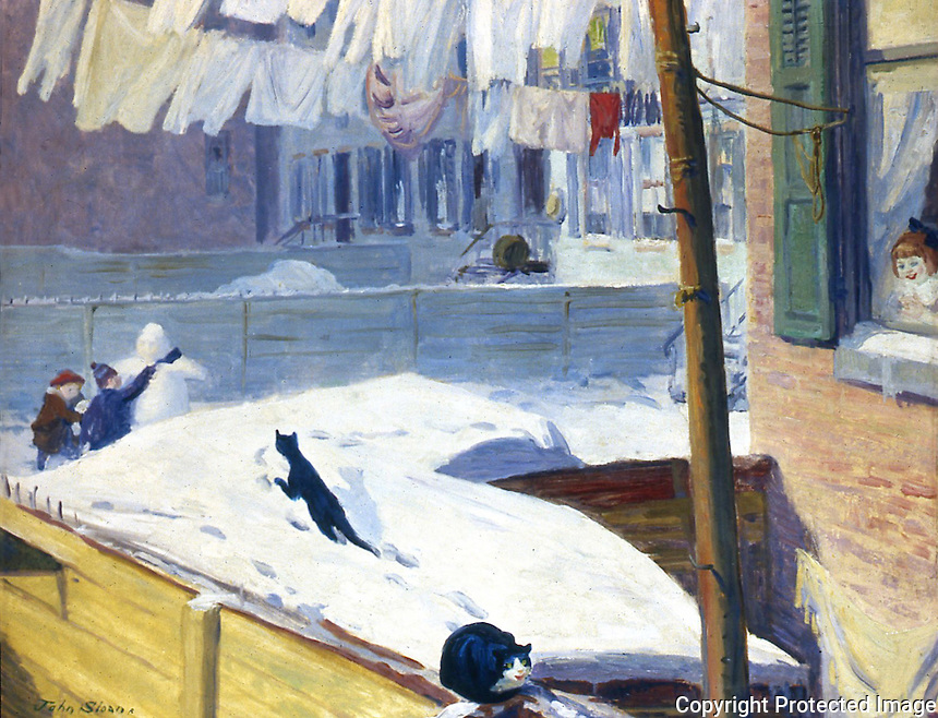 American Painters:  John Sloan--Backyards, Greenwich Village, 1914.  Oil on canvas.  Whitney Museum.