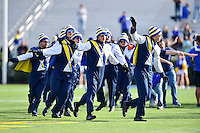 Newark, DE - OCT 29, 2016: Delaware Fightin Blue Hens band members fly around the field before game between Towson and Delaware at Delaware Stadium Tubby Raymond Field in Newark, DE. (Photo by Phil Peters/Media Images International)