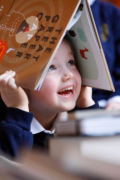 Caoimhe Loughnane, age 4 from the Fitzwilliam Montessori, Dublin pictured at this year's Bisto Book of the Year Awards shortlist announcement. Ten books are now in the running for these prestigious awards. Pic. Robbie Reynolds