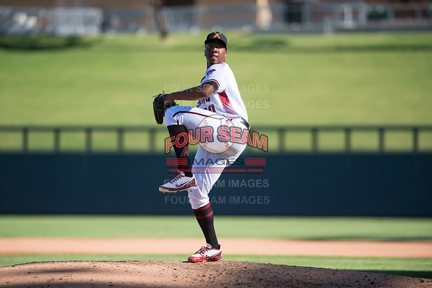 Salt River Rafters relief pitcher Tyler Mark (50), of the Arizona Diamondbacks organization, delivers a pitch during an Arizona Fall League game against the Surprise Saguaros at Salt River Fields at Talking Stick on November 5, 2018 in Scottsdale, Arizona. Salt River defeated Surprise 4-3 . (Zachary Lucy/Four Seam Images)