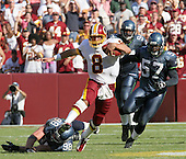 Washington Redskins quarterback Mark Brunell (8) carries the ball during the game against the Seattle Seahawks at FedEx Field in Landover, Maryland on October 2, 2005.  The Redskins won the game in overtime 20 - 17.<br /> Credit: Arnie Sachs / CNP