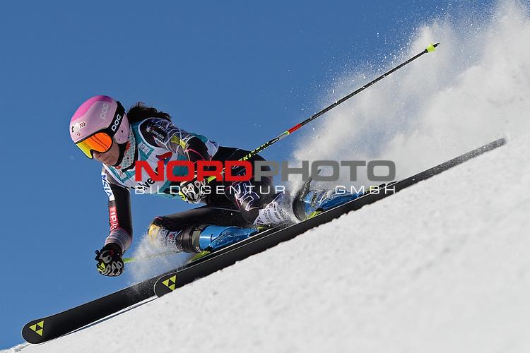 ST MORITZ, SWITZERLAND - DECEMBER 15: Megan Mcjames of the USA  during the Audi FIS Alpine Ski World Cup giant slalom race on December 15 2013 in St Moritz, Switzerland. <br /> Foto nph / Gunn