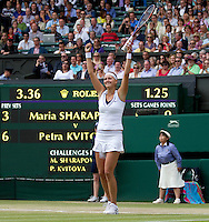 PETRA KVITOVA (CZE) (5) against MARIA SHARAPOVA (RUS) (5) in the Final of the Ladies Singles. Petra Kvitova beat Maria Sharapova 6-3 6-4..Tennis - Grand Slam - Wimbledon - AELTC - London- Day 12 - Sat July 2nd 2011..© AMN Images, Barry House, 20-22 Worple Road, London, SW19 4DH, UK..+44 208 947 0100.www.amnimages.photoshelter.com.www.advantagemedianetwork.com.