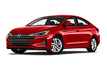 Stock pictures of low aggressive front three quarter view of 2020 Hyundai Elantra SEL 4 Door Sedan Low Aggressive