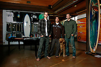 Friday, December 12, 2008.  Birdrock, La Jolla, CA:  Brothers Ben and Matt.  Store Manager Pat and Cooper the dog.