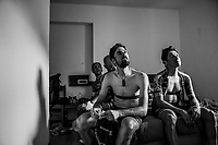 Team Mitchelton-Scott teammates Sam Bewley (NZL/Mitchelton-Scott) & Esteban Chavez (COL/Mitchelton-Scott) rewatch Mikel Nieve's stage win on the hotelroom tv at the finish (for the first time)<br /> <br /> stage 20: Susa - Cervinia (214km)<br /> 101th Giro d'Italia 2018