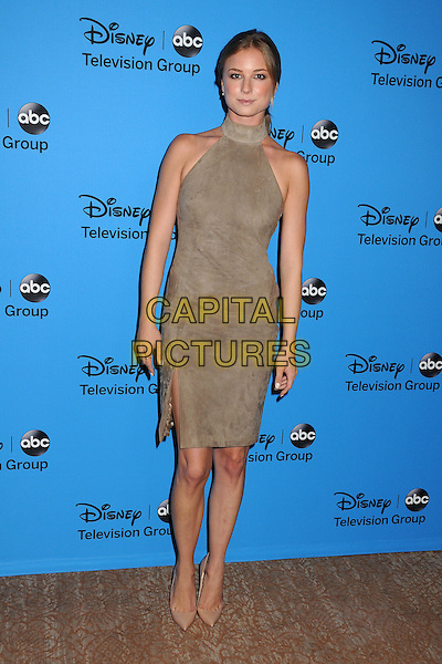 Emily VanCamp<br /> Disney/ABC Summer 2013 TCA Press Tour held at the Beverly Hilton Hotel, Beverly Hills, California, USA.<br /> August 4th, 2013<br /> full length dress beige sleeveless suede high collar  <br /> CAP/ADM/BP<br /> &copy;Byron Purvis/AdMedia/Capital Pictures