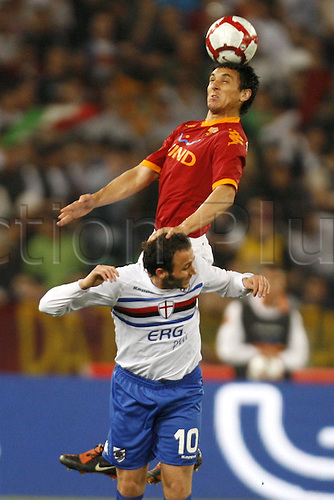25th April 2010: Nicolas Burdisio and Giampaolo Pazzini in game action during the match for the Italian Serie A Soccer Roma v.Sampdoria at the Olympic Satadium Rome,Sampdoria win the match 2-1,
