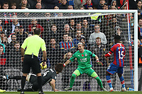 3rd November 2019; Selhurst Park, London, England; English Premier League Football, Crystal Palace versus Leicester City; Caglar Soyuncu of Leicester City scores for 0-1 past keeper Guaita in the 57th minute - Strictly Editorial Use Only. No use with unauthorized audio, video, data, fixture lists, club/league logos or 'live' services. Online in-match use limited to 120 images, no video emulation. No use in betting, games or single club/league/player publications