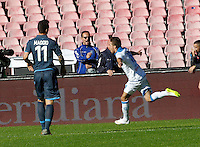 Simone Verdi celebrates after scoring   in action during the Italian Serie A soccer match between   SSC Napoli and Empolii    at San Paolo   stadium in Naples , December 07, 2014<br />  Esultanza  Simone Verdi