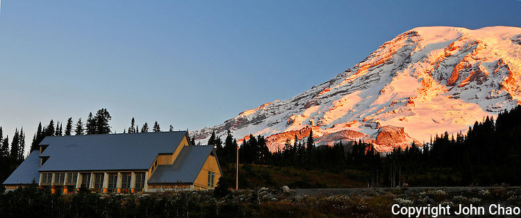 Sunrise lights Jackson Visitor Center in the Paradise area in Mount Rainier National Park