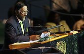 New York, NY - September 22, 2009 -- Rajendra Pachauri, chair of the Intergovernmental Panel on Climate Change, speaks before U.S. President Barack Obama delivers remarks at UN Secretary General Ban Ki-moon's Climate Change Summit at the United Nations Headquarters in New York City on Tuesday, September 22, 2009.   .Credit: John Angelillo / Pool via CNP