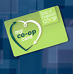 My Co-Op Card, East of England Co-operative Society shop advertising boards hoardings, Woodbridge, Suffolk, UK