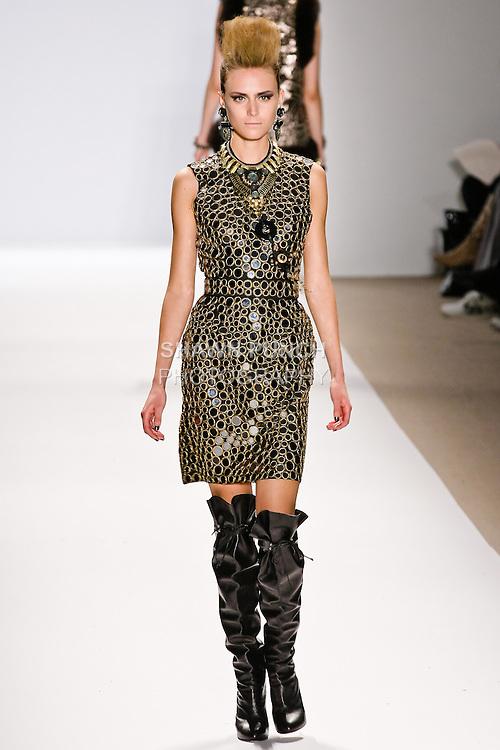 Yana Karpova walks the runway in a Naeem Khan Fall 2010 outfit, during Mercedes-Benz Fashion Week Fall 2010.