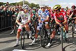 The jerseys line up for the start White Jersey Tadej Pogacar (SLO) UAE Team Emirates, Polka Dot Jersey Geoffrey Bouchard (FRA) AG2R La Mondiale and race leader Red Jersey Primoz Roglic (SLO) Team Jumbo-Visma before Stage 17 of La Vuelta 2019  running 219.6km from Aranda de Duero to Guadalajara, Spain. 11th September 2019.<br /> Picture: Luis Angel Gomez/Photogomezsport | Cyclefile<br /> <br /> All photos usage must carry mandatory copyright credit (© Cyclefile | Luis Angel Gomez/Photogomezsport)