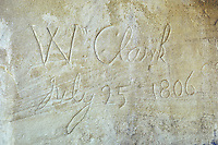 Explorer William Clark's signature in the sandstone of Pompey's Pillar along the Yellowstone River in Montana.  Clark carved his name in the rock on July 25, 1806 on the return trip to St. Louis.