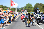 The breakaway group Kevin Ledanois (FRA) Fortuneo-Samsic, Jerome Cousin (FRA) Direct Energie and Yoann Offredo (FRA) Wanty-Groupe Gobert in action during Stage 1 of the 2018 Tour de France running 201km from Noirmoutier-en-l&rsquo;&Icirc;le to Fontenay-le-Comte, France. 7th July 2018. <br /> Picture: ASO/Pauline Ballet | Cyclefile<br /> All photos usage must carry mandatory copyright credit (&copy; Cyclefile | ASO/Pauline Ballet)