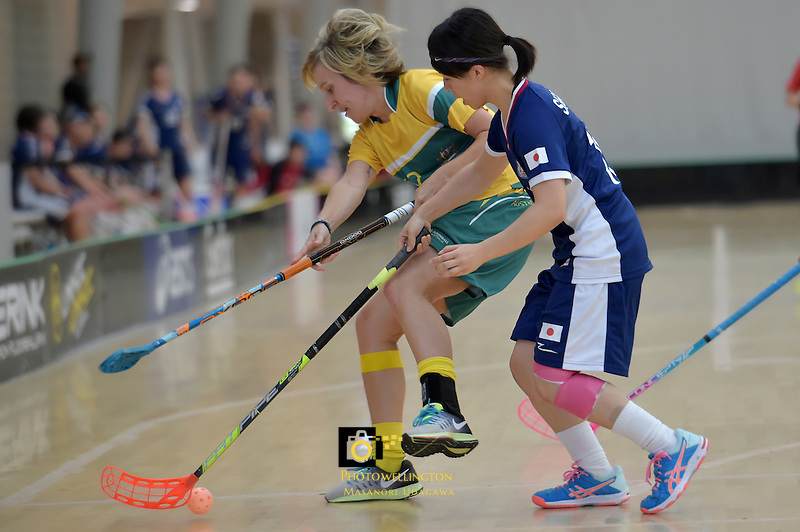 Australia's Ashlegh Bourke and Japan's Hitomi Sugaya in action during the World Floorball Championships 2017 Qualification for Asia Oceania Region Final - Australia v Japan at ASB Sports Centre , Wellington, New Zealand on Sunday 5 February 2017.<br /> Photo by Masanori Udagawa<br /> www.photowellington.photoshelter.com.