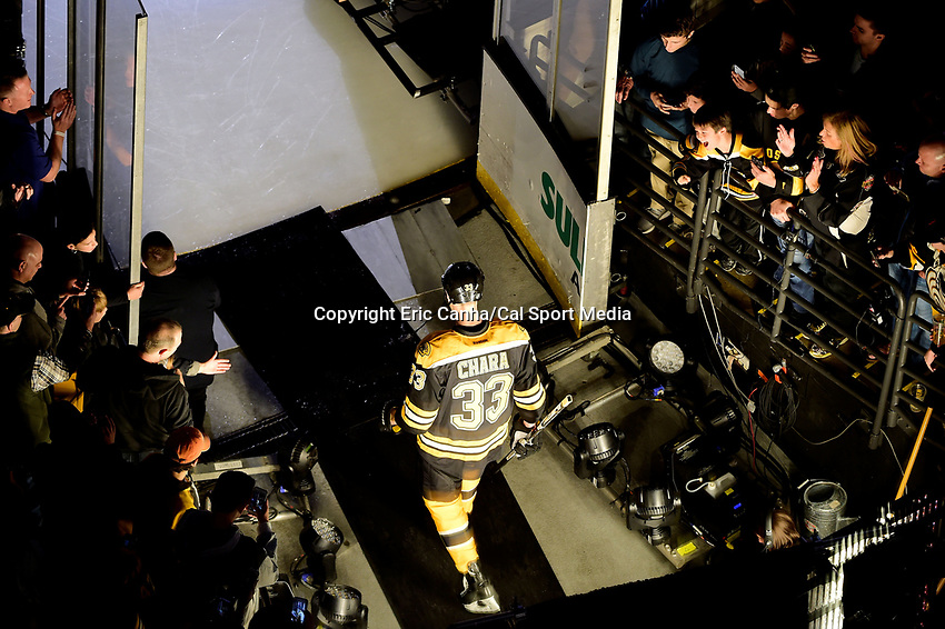 Thursday, October 20, 2016: Boston Bruins defenseman Zdeno Chara (33) waits to be introduced at the Boston Bruins home opener against the New Jersey Devils held at TD Garden, in Boston, Mass. The Bruins defeat the Devils 2-1 in regulation time. Eric Canha/CSM